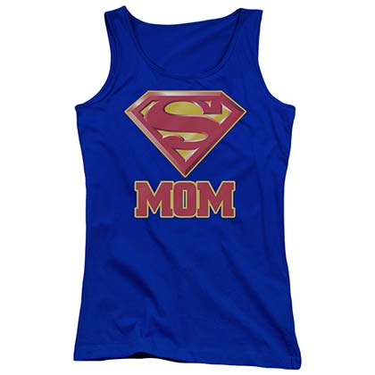Superman Super Mom Juniors Blue Tank Top