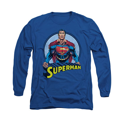 Superman Flying High Blue Long Sleeve T-Shirt