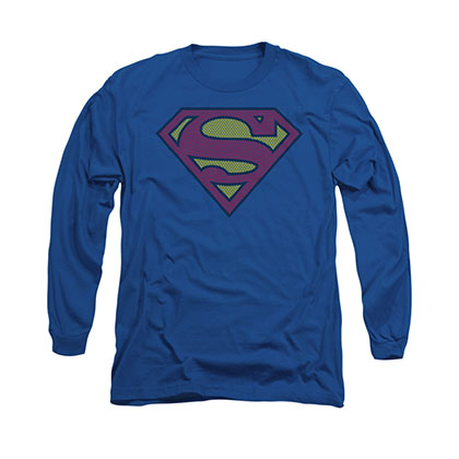 Superman Little Logos Blue Long Sleeve T-Shirt