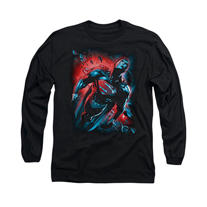Superman Red Sun Black Long Sleeve T-Shirt
