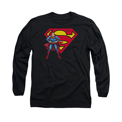 Superman Standing Logo Black Long Sleeve T-Shirt