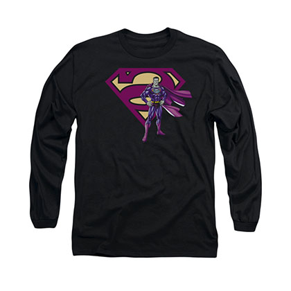 Superman Bizarro Standing Logo Black Long Sleeve T-Shirt
