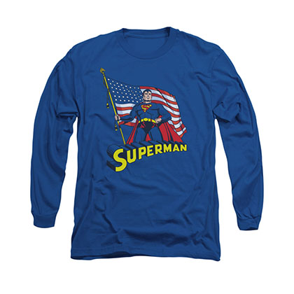 Superman American Flag Blue Long Sleeve T-Shirt