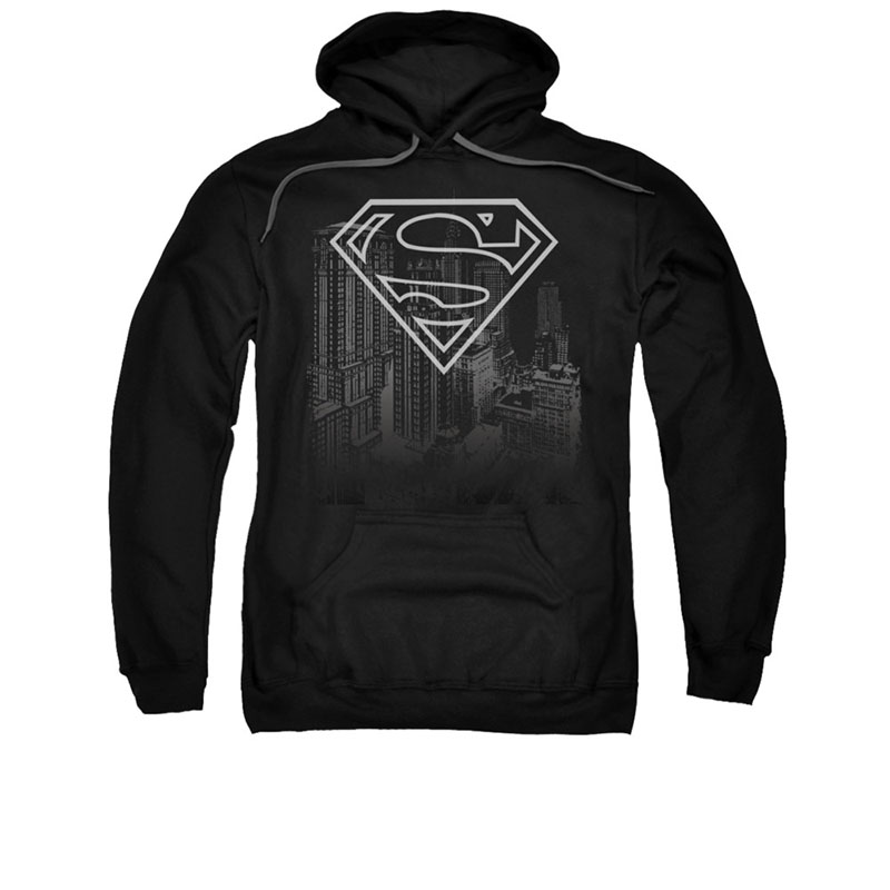 Superman Skyline Black Pullover Hoodie