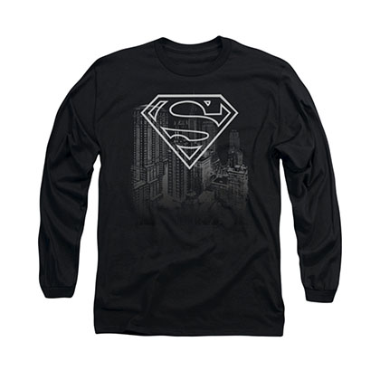 Superman Skyline Black Long Sleeve T-Shirt