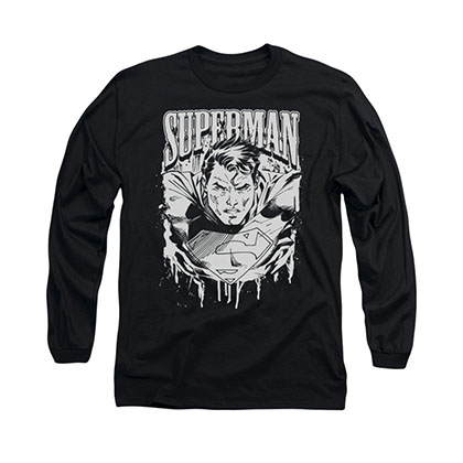 Superman Metal Black Long Sleeve T-Shirt