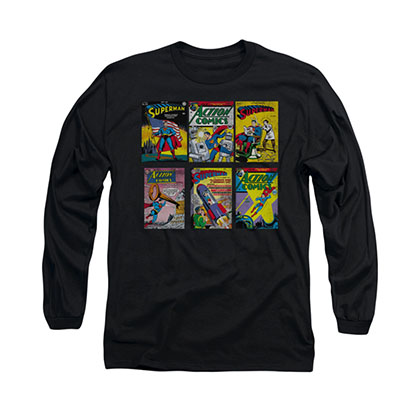 Superman Comic Covers Black Long Sleeve T-Shirt