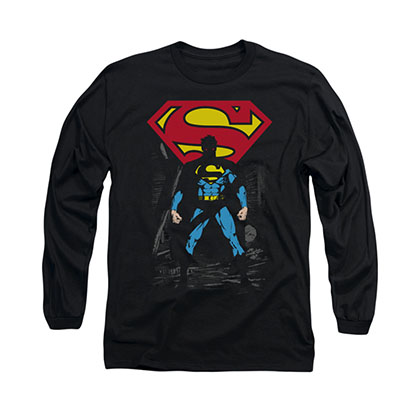 Superman Dark Alley Black Long Sleeve T-Shirt