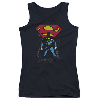Superman Dark Alley Black Juniors Tank Top