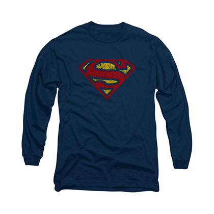 Superman Crackle Logo Blue Long Sleeve T-Shirt