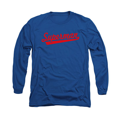 Superman Tail Logo Blue Long Sleeve T-Shirt