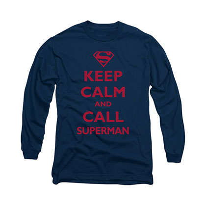 Superman Keep Calm Blue Long Sleeve T-Shirt