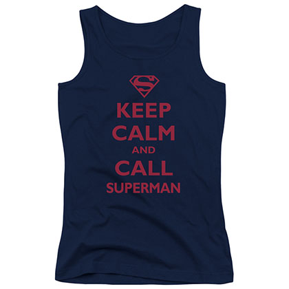 Superman Keep Calm Blue Juniors Tank Top