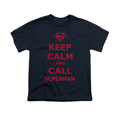 Superman Keep Calm Blue Youth Unisex T-Shirt