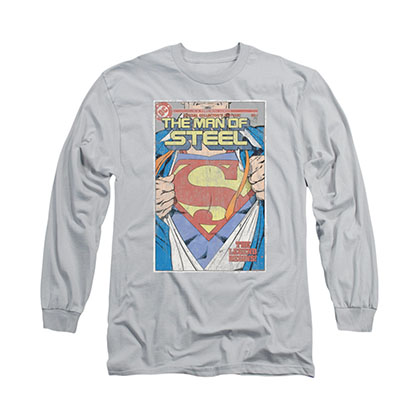 Superman Man Of Steel Cover Gray Long Sleeve T-Shirt