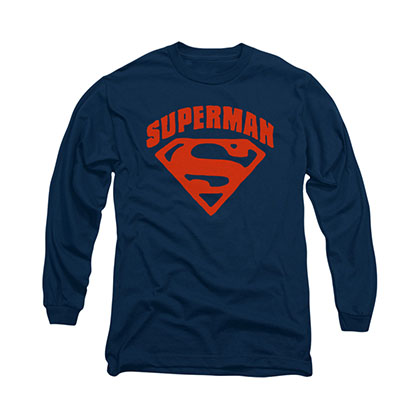 Superman Super Shield Blue Long Sleeve T-Shirt