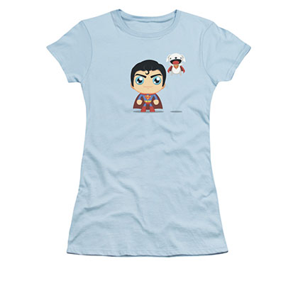 Superman Chibi Dog Blue Juniors T-Shirt