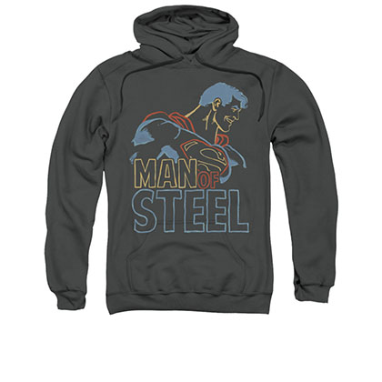 Superman Colored Lines Gray Pullover Hoodie