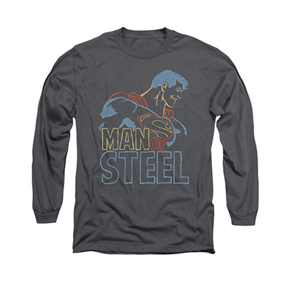 Superman Colored Lines Gray Long Sleeve T-Shirt