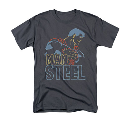 Supermam Colored Outlines Gray T-Shirt