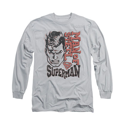 Superman Retro Line Gray Long Sleeve T-Shirt