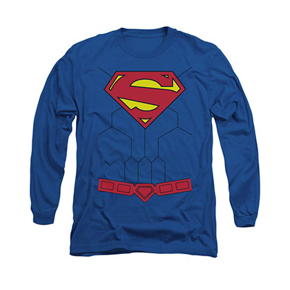 Superman New 52 Torso Costume Blue Long Sleeve T-Shirt