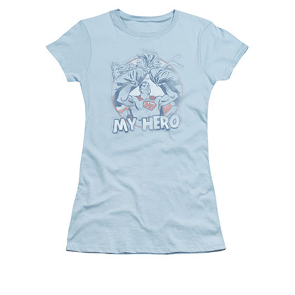 Superman My Hero Blue Juniors T-Shirt