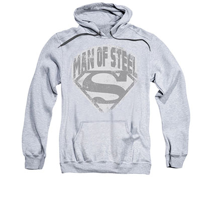 Superman Man Of Steel Gray Pullover Hoodie