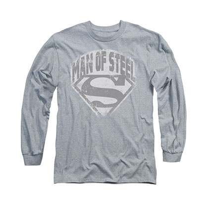 Superman Man Of Steel Shield Gray Long Sleeve T-Shirt