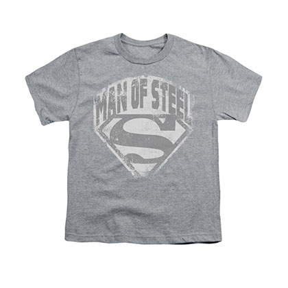 Superman Man Of Steel Shield Gray Youth Unisex T-Shirt