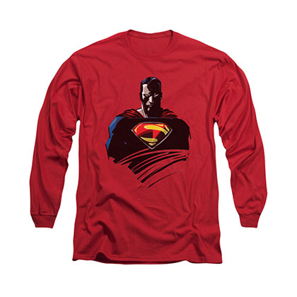 Superman Bust Red Long Sleeve T-Shirt