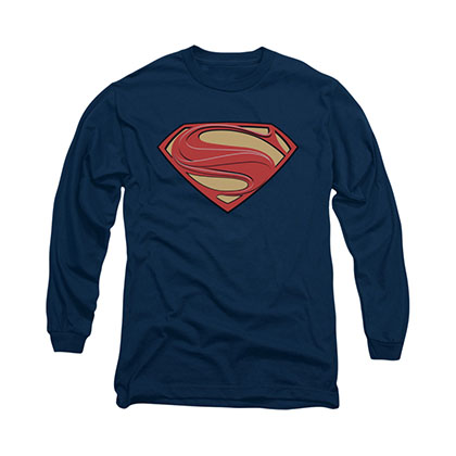 Superman New Solid Shield Blue Long Sleeve T-Shirt