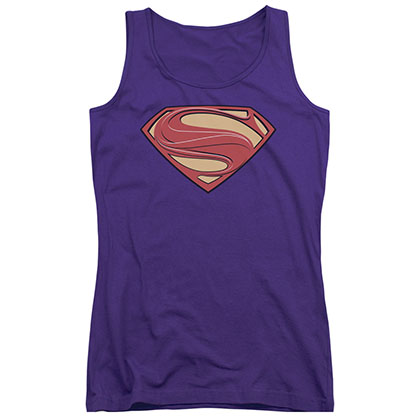 Superman Man Of Steel Logo Purple Juniors Tank Top