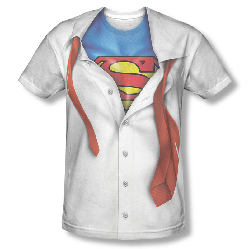 Superman button down costume sublimation white t shirt for All over dye sublimation t shirt printing