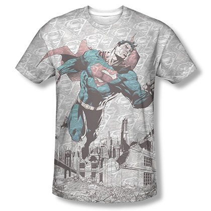 Superman Warzone Sublimation Gray T-Shirt