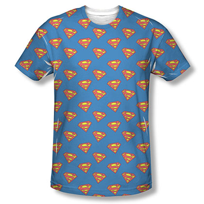 Superman Repeating Logos Sublimation Blue T-Shirt