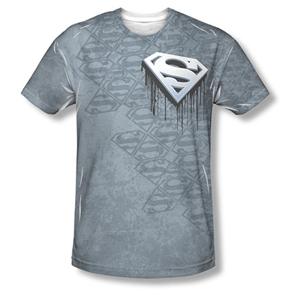 Superman Drip Logo Sublimation Gray T-Shirt