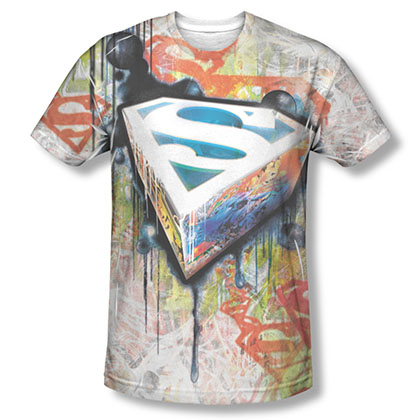 Superman Urban Shields Sublimation White T-Shirt