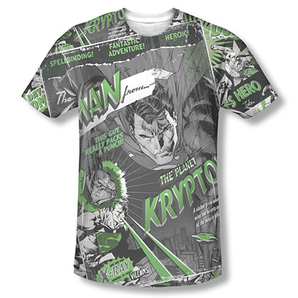 Superman Man From Krypton Sublimation Black T-Shirt