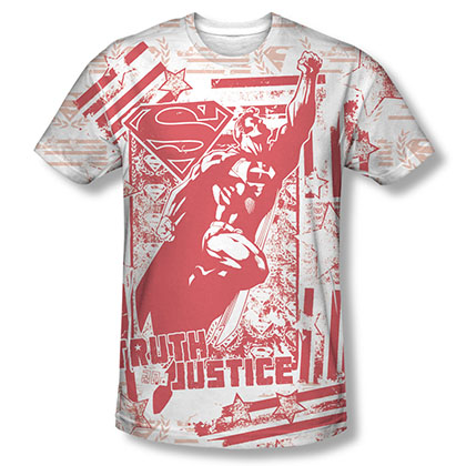 Superman Truth And Justice Sublimation White T-Shirt