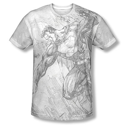 Superman City To Space Sublimation Gray T-Shirt