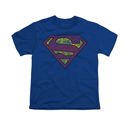 Superman Tattered Shield Blue Youth Unisex T-Shirt