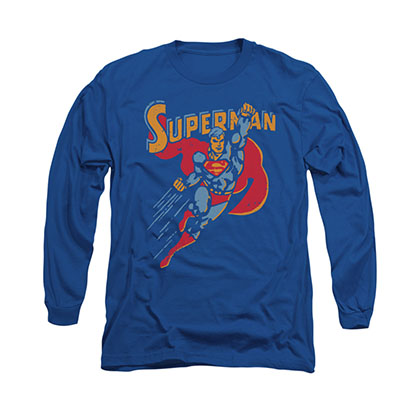 Superman Life Like Action Blue Long Sleeve T-Shirt