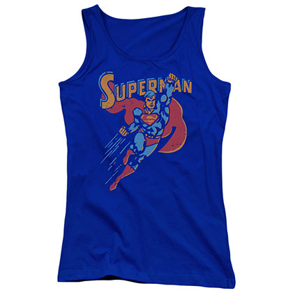 Superman Life Like Action Blue Juniors Tank Top