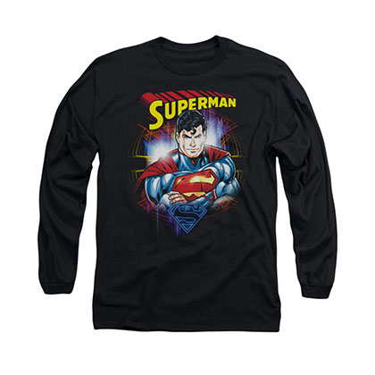 Superman Glam Black Long Sleeve T-Shirt