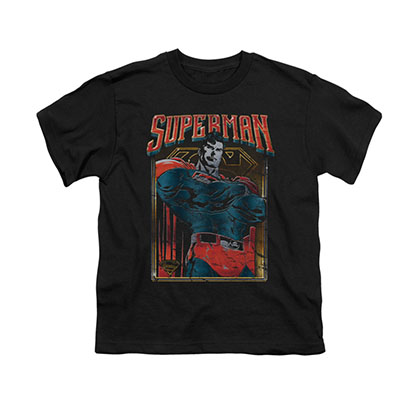 Superman Head Bang Black Youth Unisex T-Shirt