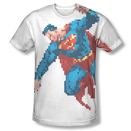 Superman 8 Bit Pixels Sublimation White T-Shirt