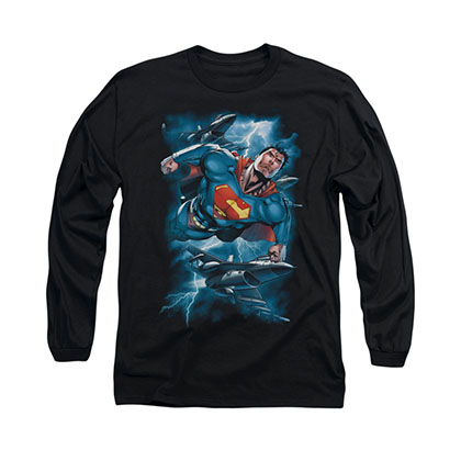 Superman Stormy Flight Black Long Sleeve T-Shirt