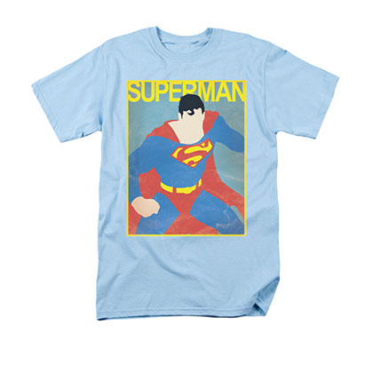 Superman Cartoon Poster Blue T-Shirt