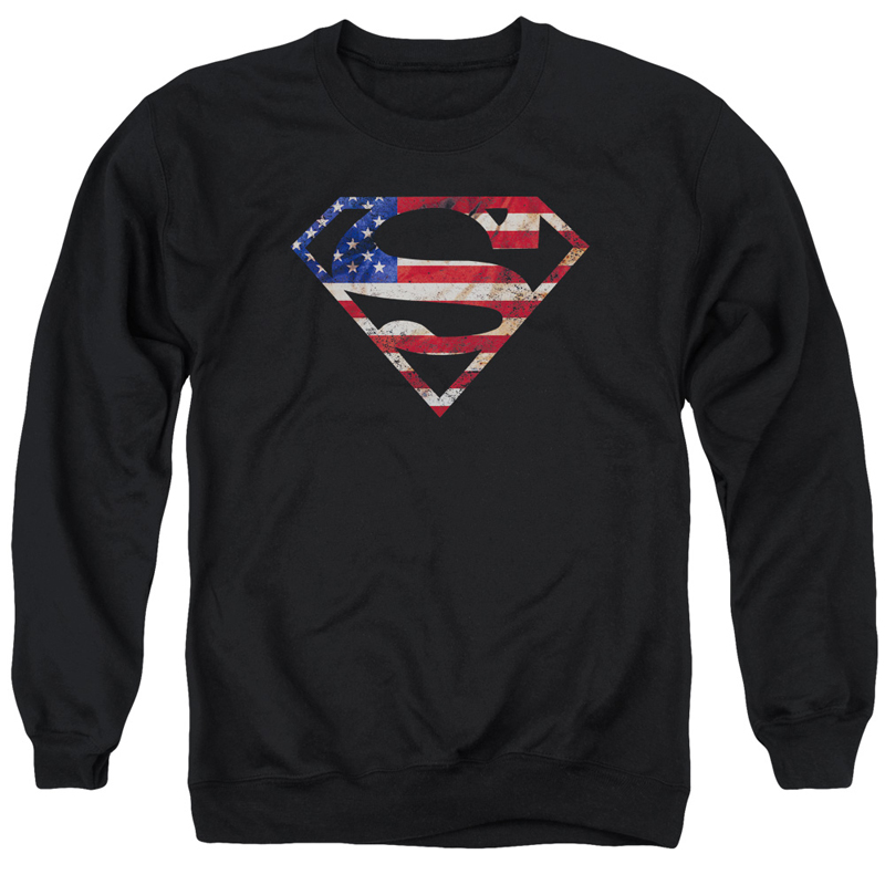 Superman American Flag Logo Crewneck Sweatshirt